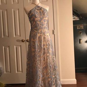 Blue Lace Prom Dress